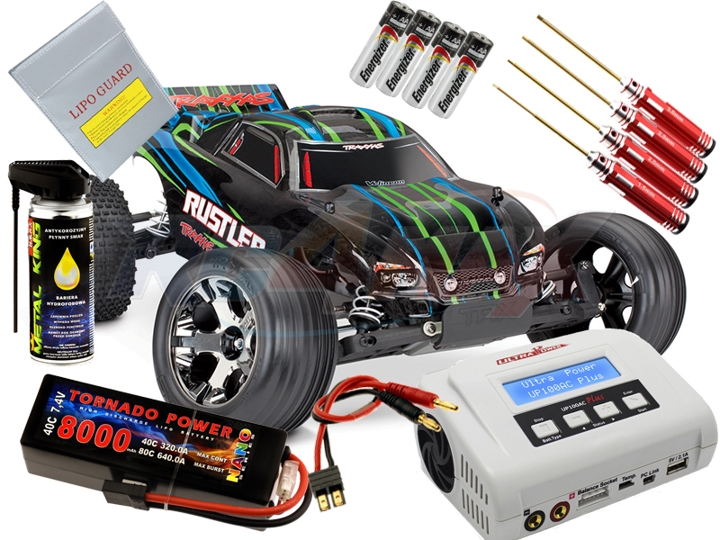 TRAXXAS Rustler VXL z TSM, Bluetooth Ready + akumulator LiPo 8000mAh 40C 7,4V  + Ładowarka Ultra Power UP100AC-PLUS. 10A, 100W
