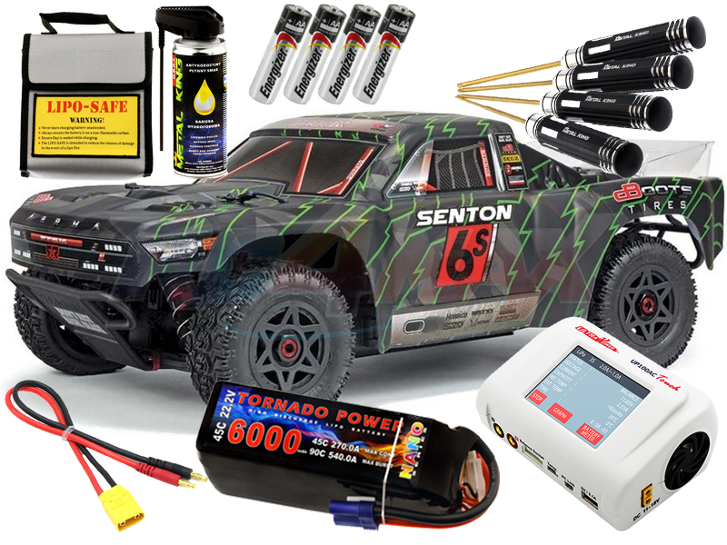 Arrma Senton SC BLX 1:10 4WD czarno/zielony + LiPo Tornado Power + Ulyta Power UP100AC - ZESTAW RTR